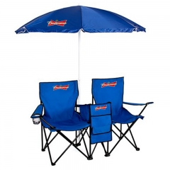 Double Folding Chair with Umbrella & Table Cooler